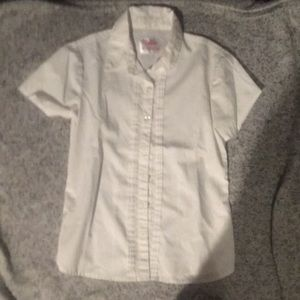 5/$25 Justice short sleeve white blouse